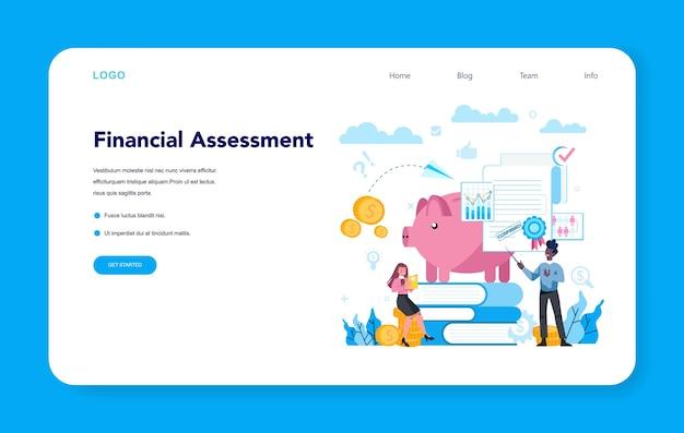 Baner internetowy lub strona docelowa analityka finansowego lub konsultanta. biznes