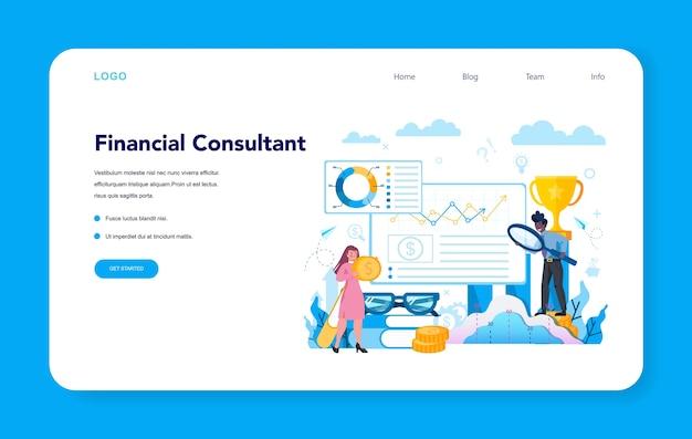 Baner internetowy lub strona docelowa analityka finansowego lub konsultanta