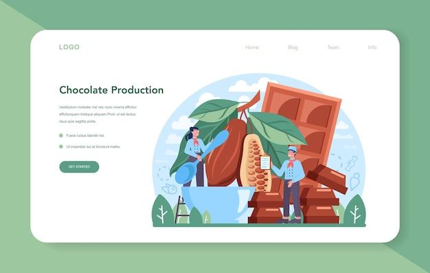 Baner internetowy lub strona docelowa branży cukierniczej. fabryka pysznych ciast i słodyczy. proces produkcji czekolady. ilustracja na białym tle płaski wektor