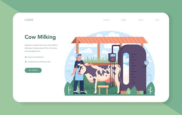 Baner internetowy lub strona docelowa branży mleczarskiej. naturalny produkt mleczny na śniadanie. dojenie krów, pasteryzacja nabiału, fermentacja i mleko, produkcja sera, masła. płaska ilustracja wektorowa