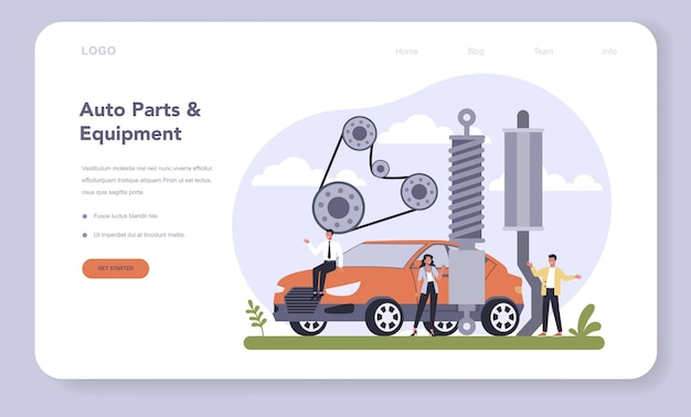 Baner internetowy lub strona docelowa branży produkcji części zamiennych