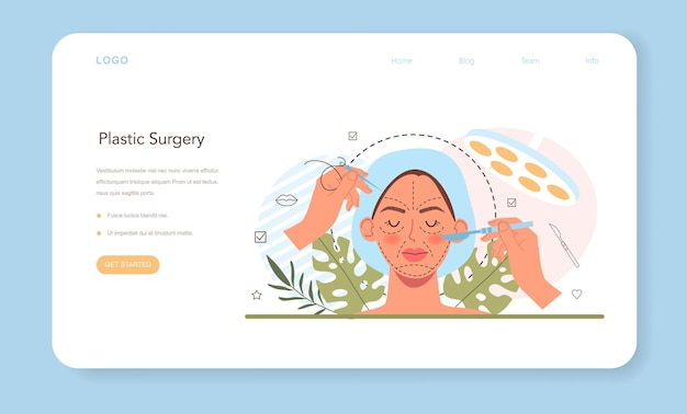 Baner internetowy lub strona docelowa chirurgii plastycznej. idea nowoczesnej estetyki twarzy