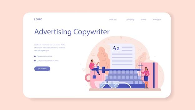 Baner internetowy lub strona docelowa copywriter. idea pisania tekstów, kreatywność i promocja. tworzenie wartościowych treści i praca jako wolny strzelec.