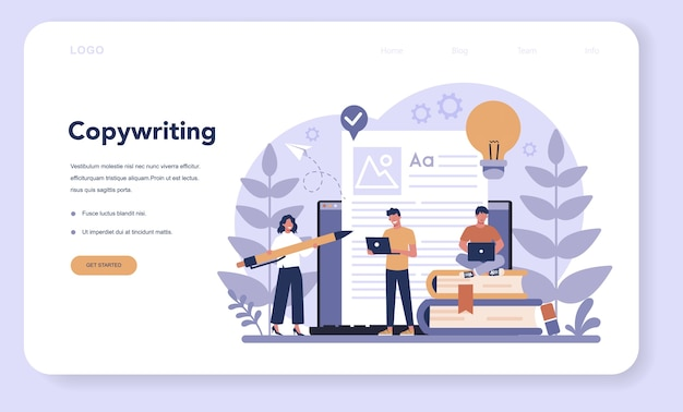 Baner internetowy lub strona docelowa copywriter