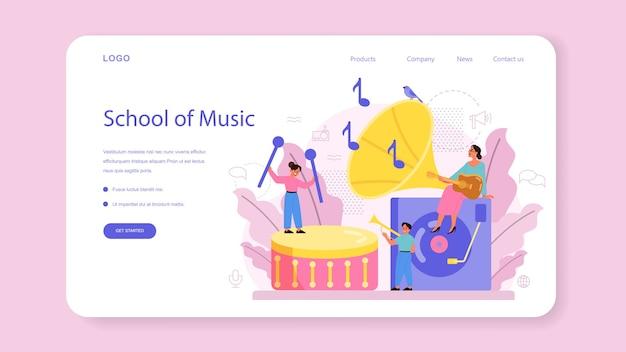 Baner internetowy lub strona docelowa dla muzyków i kursów muzycznych.