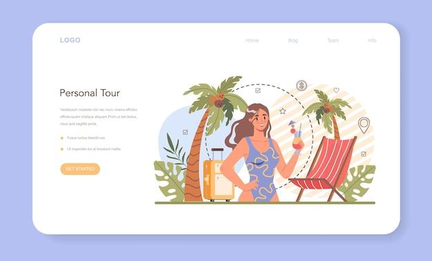Baner internetowy lub strona docelowa eksperta w dziedzinie turystyki. tworzenie i sprzedaż agentów