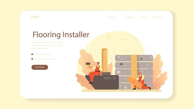 Baner internetowy lub strona docelowa instalatora podłóg