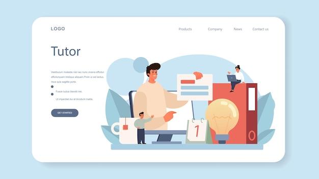 Baner internetowy lub strona docelowa nauczyciela. płaska ilustracja wektorowa