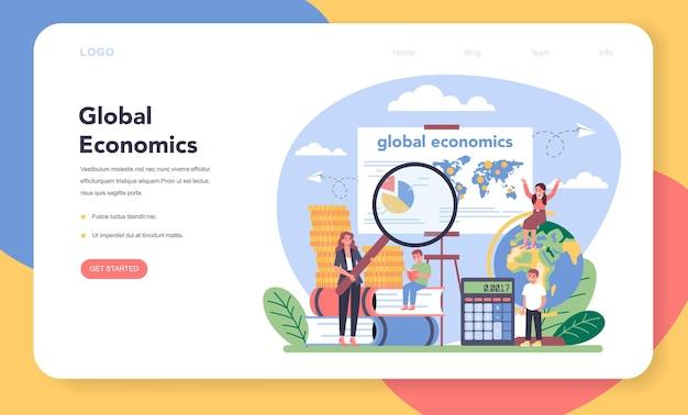 Baner internetowy lub strona docelowa o tematyce ekonomicznej