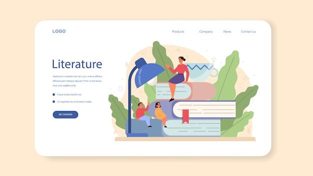 Baner internetowy lub strona docelowa o tematyce szkolnej literatury