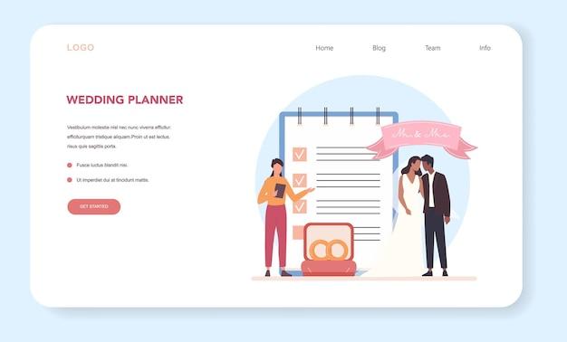 Baner internetowy lub strona docelowa organizatora ślubu