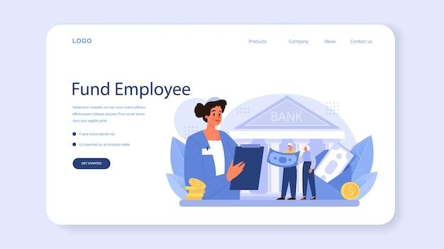 Baner internetowy lub strona docelowa pracownika funduszu emerytalnego. specjalista pomaga seniorom zaoszczędzić pieniądze na emeryturę, niezależność finansową. gospodarka i bogactwo, plan emerytalny. płaskie ilustracji wektorowych