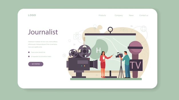 Baner internetowy lub strona docelowa prezentera telewizyjnego. gospodarz telewizyjny w studio