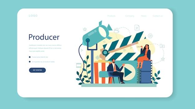 Baner internetowy lub strona docelowa producenta. produkcja filmowa i muzyczna.