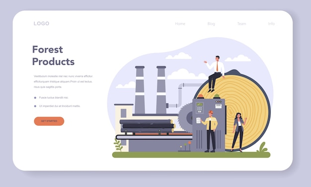Baner internetowy lub strona docelowa produkcji papieru i przemysłu drzewnego