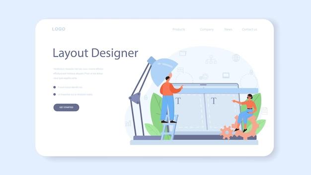 Baner internetowy lub strona docelowa projektanta layoutu. tworzenie stron internetowych, projektowanie aplikacji mobilnych. ludzie budujący szablon interfejsu użytkownika. technologia komputerowa.