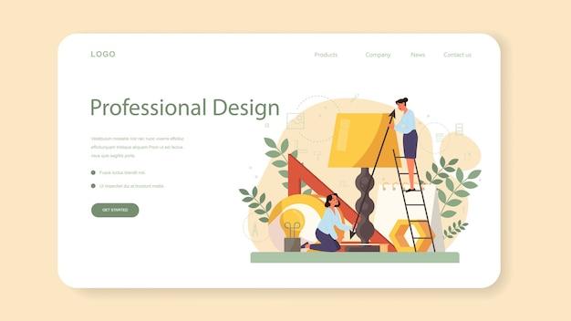 Baner internetowy lub strona docelowa projektanta przemysłowego. artysta tworzący nowoczesny obiekt otoczenia. projektowanie użyteczności produktu, rozwój produkcji.