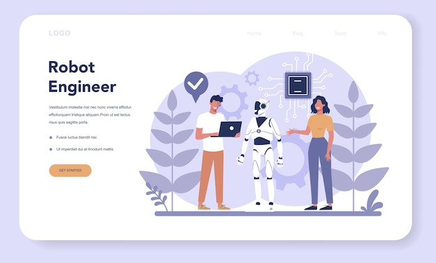 Baner internetowy lub strona docelowa robotyki. inżynieria i programowanie robotów.