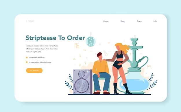 Baner internetowy lub strona docelowa striptizu dla kobiet