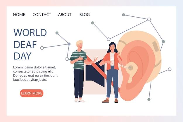 Baner internetowy lub strona docelowa światowego dnia przesłuchań. osoby z aparatem słuchowym. młody niepełnosprawny głuchoniemy mężczyzna i kobieta rozmawiają ze sobą używając języka migowego.