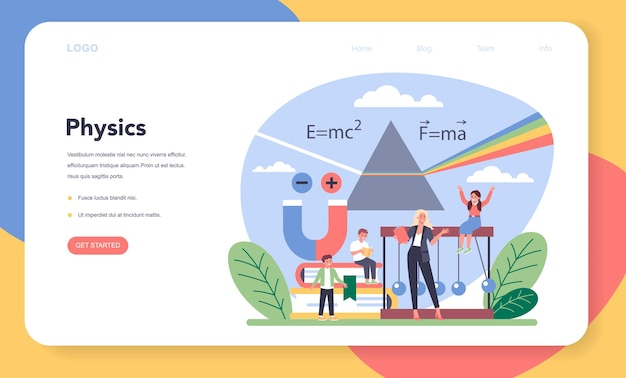 Baner internetowy lub strona docelowa szkoły fizyki