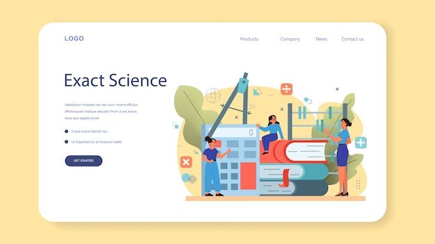 Baner internetowy lub strona docelowa szkoły matematyki.