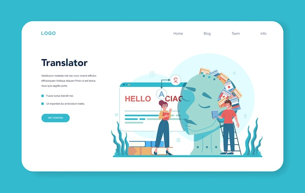 Baner internetowy lub strona docelowa tłumacza i usługi tłumaczeniowej