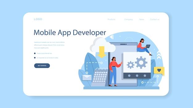 Baner internetowy lub strona docelowa tworzenia aplikacji mobilnych. nowoczesna technologia i projekt interfejsu smartfona. tworzenie i programowanie aplikacji.