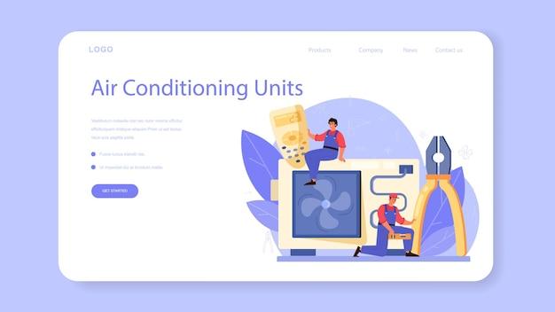 Baner internetowy lub strona docelowa usługi naprawy i instalacji klimatyzacji.