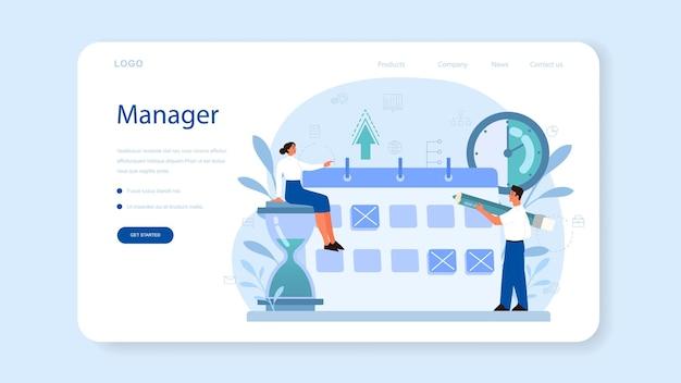 Baner internetowy lub strona docelowa zarządzania projektami. skuteczna strategia, motywacja i przywództwo. analiza i rozwój marketingowy.