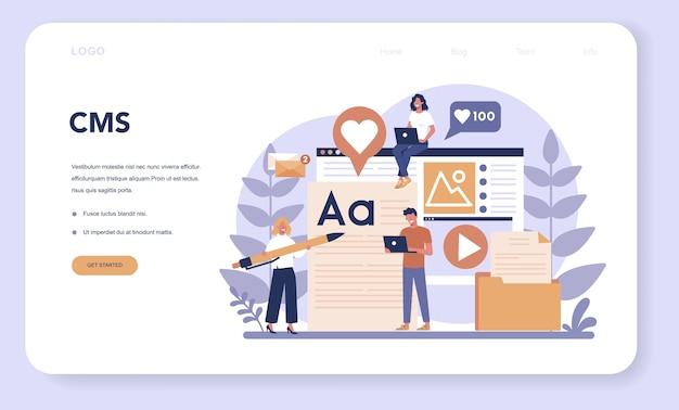 Baner internetowy lub strona docelowa zarządzania treścią. idea strategii cyfrowej i treści do tworzenia sieci społecznościowych. komunikacja w mediach społecznościowych.
