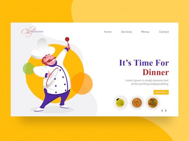 """Baner internetowy lub strona docelowa ze szczęśliwym charakterem szefa kuchni i podanym komunikatem """"czas na kolację""""."""