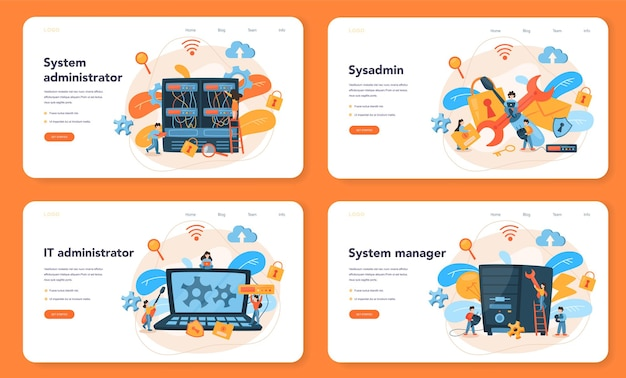 Baner internetowy lub zestaw stron docelowych administratora systemu
