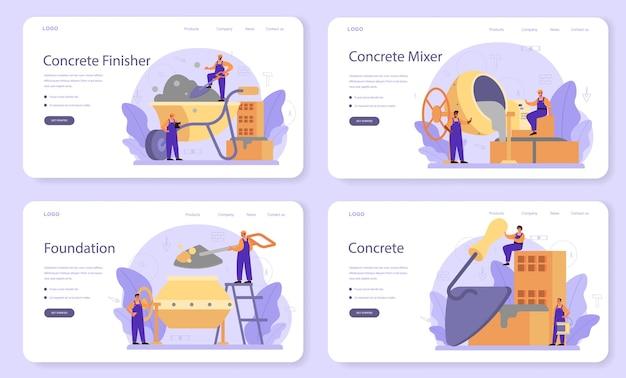 Baner internetowy lub zestaw stron docelowych dla konstruktora wykańczania betonu.