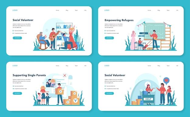 Baner Internetowy Lub Zestaw Stron Docelowych Dla Wolontariuszy Społecznych Premium Wektorów