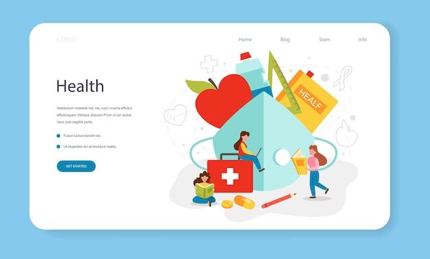 Baner internetowy na temat zdrowego stylu życia lub pomysł na stronę docelową dotyczącą bezpieczeństwa życia