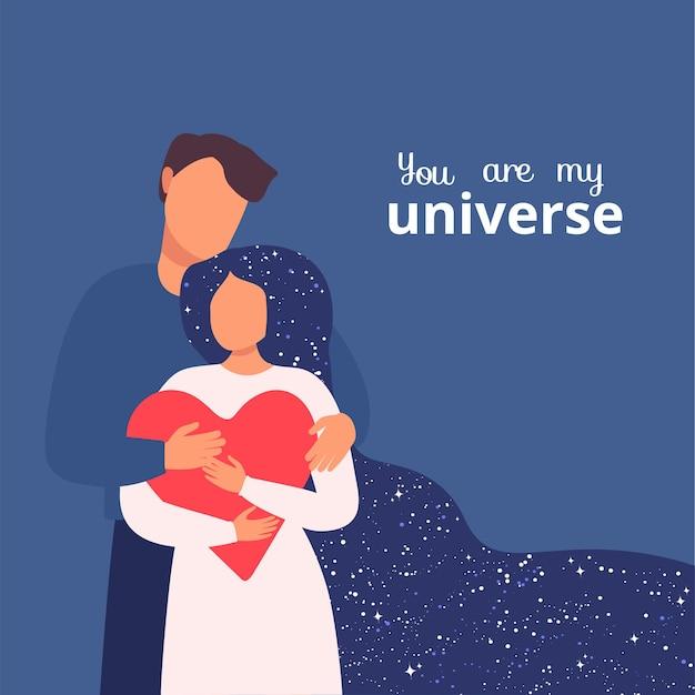 Baner internetowy na walentynki para zakochanych mężczyzna przytula kobietę z sercem w dłoni