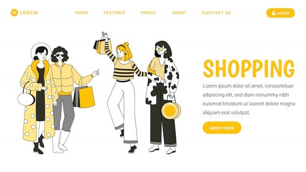 Baner internetowy na zakupy. koncepcja strony docelowej sprzedaży sezonowej.