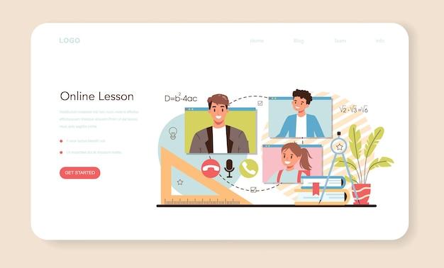 Baner internetowy nauczyciela lub profesor strony docelowej prowadzący lekcję w klasie