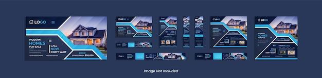 Baner internetowy nieruchomości i projekt paczki postów w mediach społecznościowych z głębokimi i błękitnymi abstrakcyjnymi kształtami.
