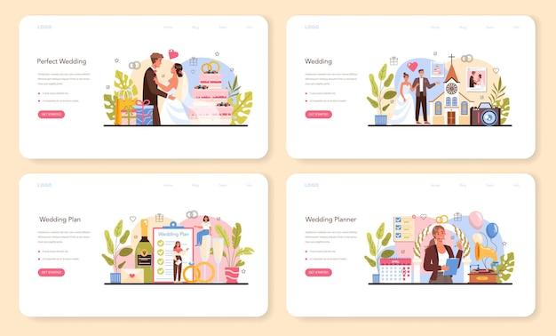 Baner internetowy planner ślubny lub zestaw strony docelowej. profesjonalny organizator