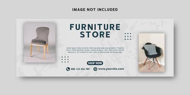 Baner internetowy sklepu meblowego i szablon projektu okładki na facebook
