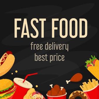 Baner internetowy smaczne fast food dla ilustracji kawiarni