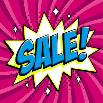 Baner internetowy sprzedaż fioletowy. pop-art promocyjny rabat promocyjny sprzedaż komiksu