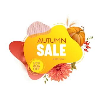 Baner internetowy sprzedaży dziękczynienia, sezonowa oferta promocyjna jesień, odznaka rabatowa, szablon tagu. wektor płyn 3d bańki z dyni, ilustracja jesienne kwiaty, projekt kuponu reklamowego
