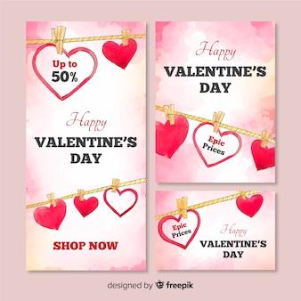 Baner internetowy sprzedaży valentine's day