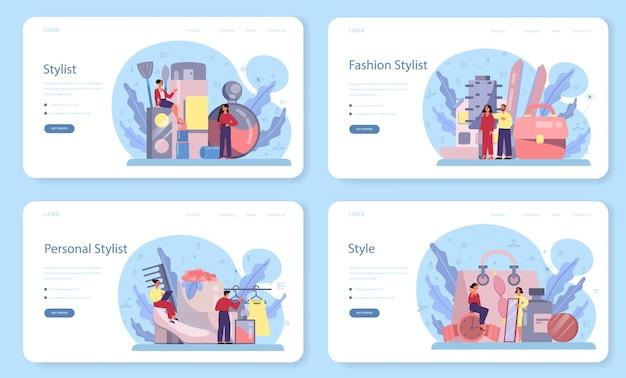Baner internetowy stylista mody lub zestaw strony docelowej. nowoczesna, kreatywna praca, profesjonalna postać z branży modowej dobierająca ubrania dla klienta.