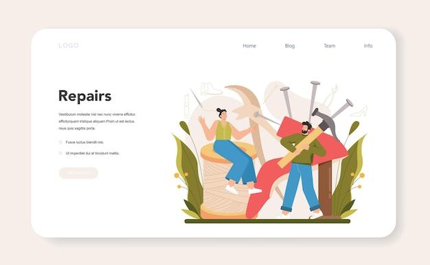 Baner internetowy szewca lub rzemieślnik strony docelowej w fartuchu
