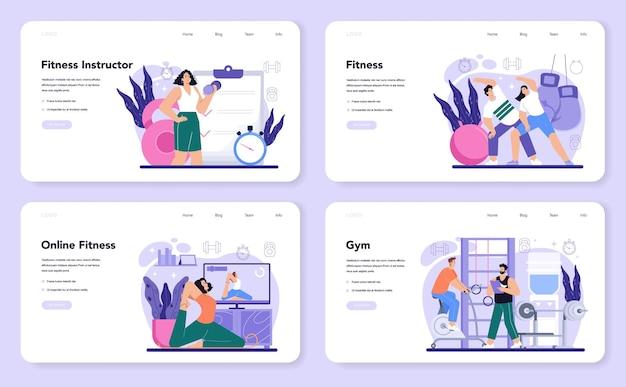 Baner internetowy trenera fitness lub zestaw strony docelowej trening na siłowni
