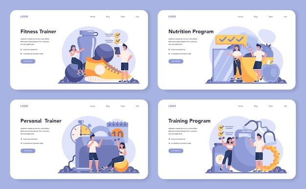 Baner internetowy trenera fitness lub zestaw strony docelowej
